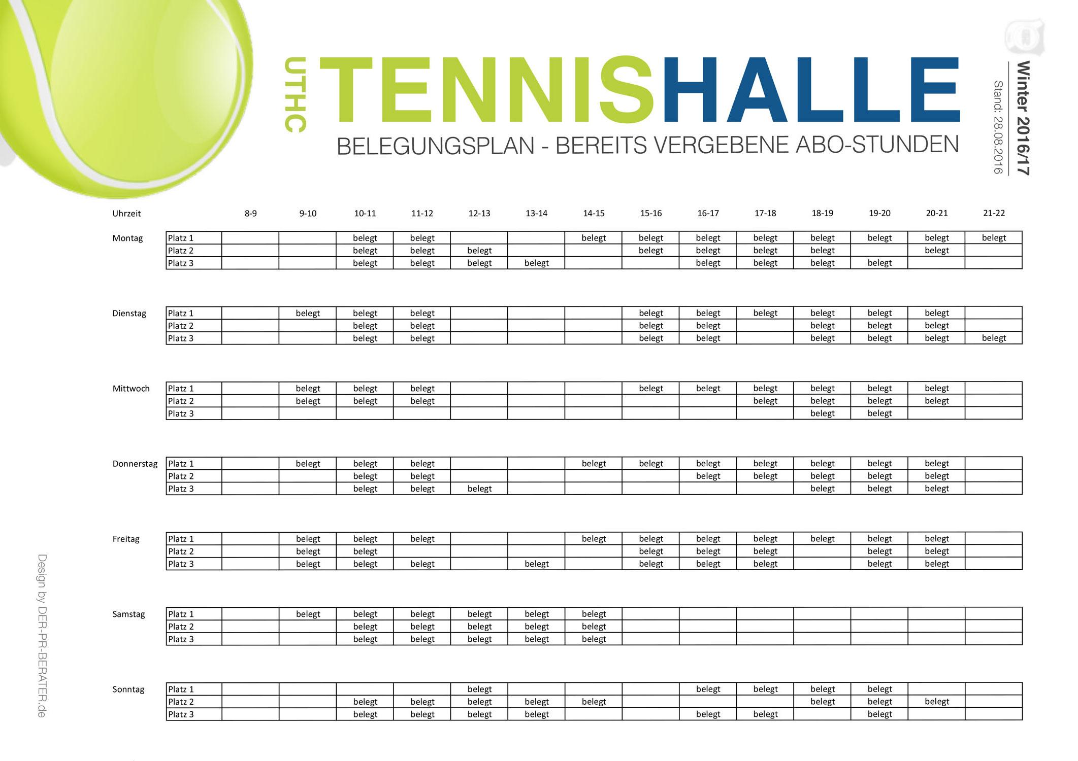 Abo-Belegungsplan der UTHC-Tennishalle: Winter 2015-16 / Stand: 01.07.2015