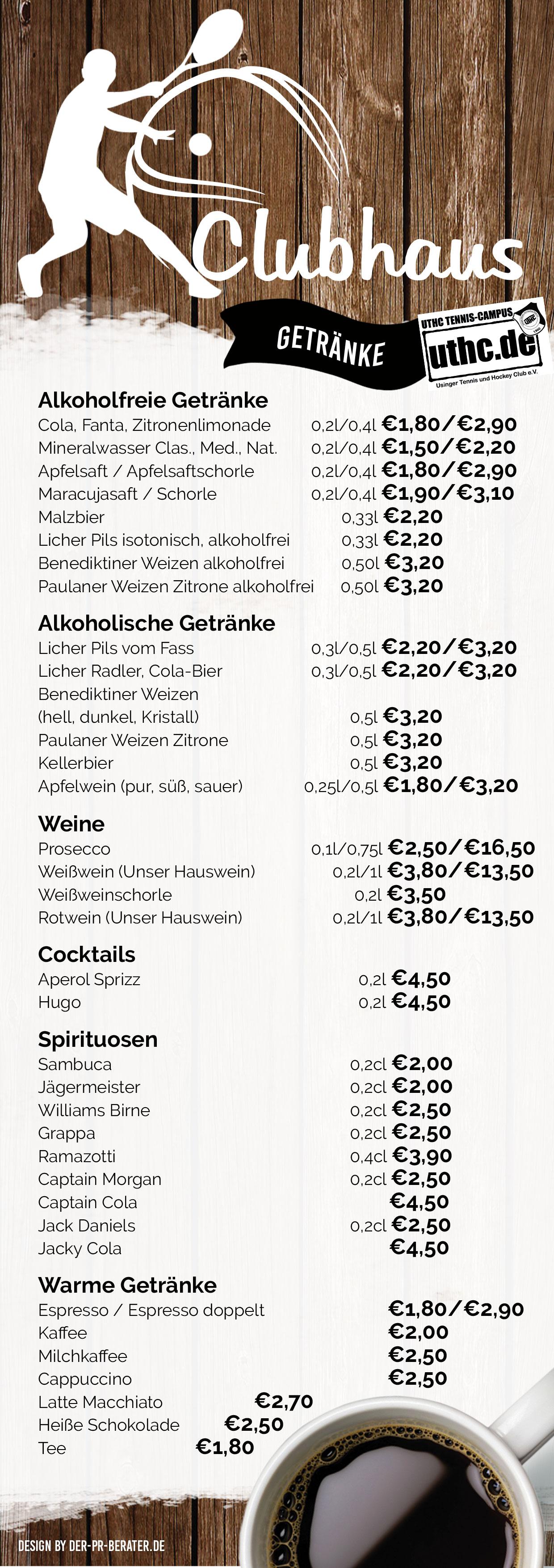 Sommer Getränkekarte vom öffentlichen UTHC-Clubhaus