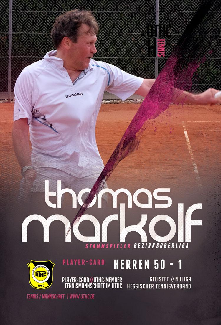 Tennis Spielerportrait 2017: Thomas Markolf / Bezirksoberliga / Herren 50 / Erste Mannschaft / UTHC