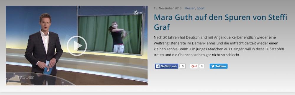 SAT1 Fernsehen Live: Mediathek Tennis-Reportage über Mara Guth des UTHC in Usingen