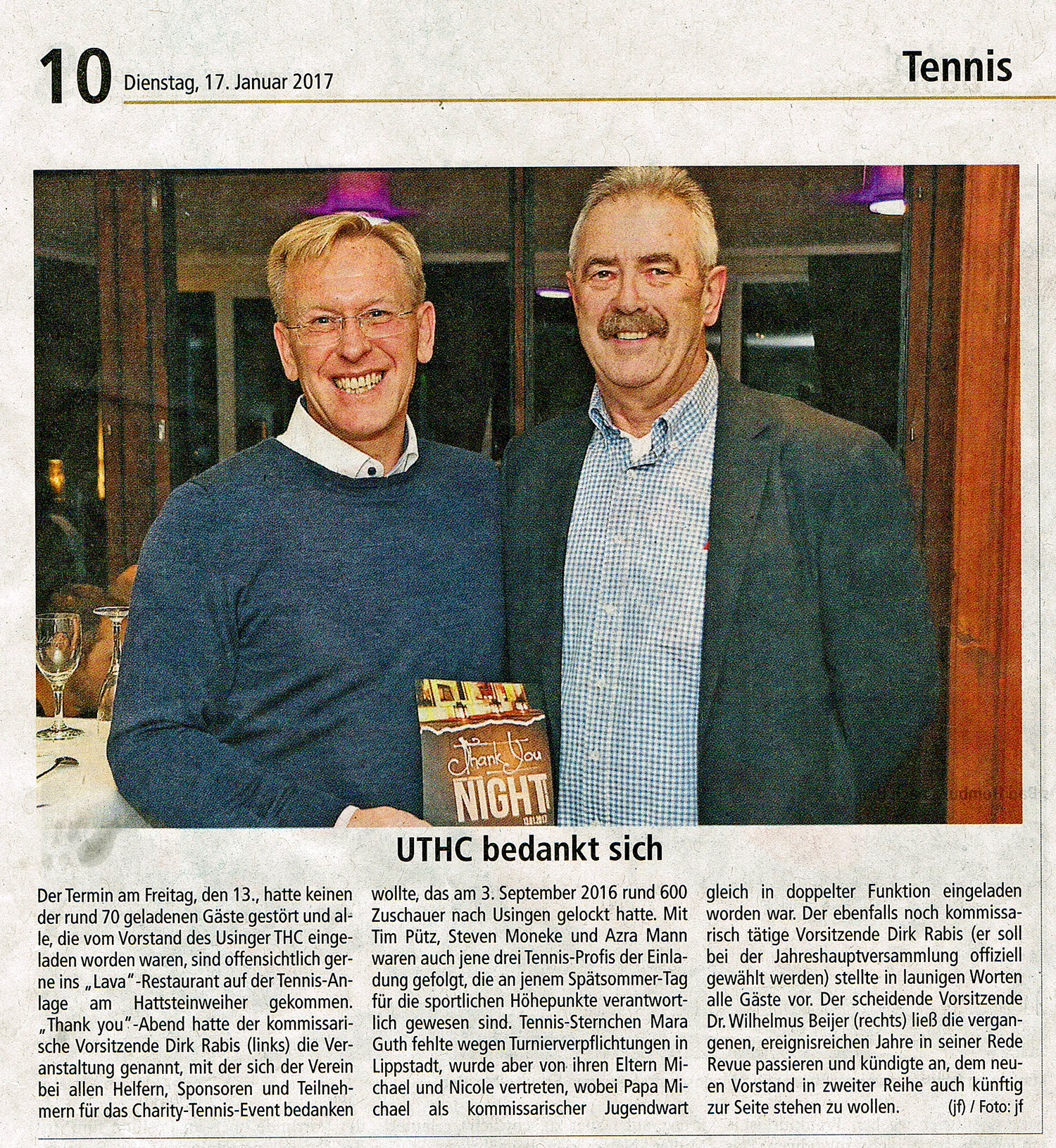 Pressebericht / Sportjournalist Gerhard Strohmann: UTHC Thank-You-Night 2017