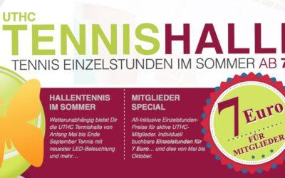 7 Euro kostet eine Sommerstunde in der Tennishalle des UTHC