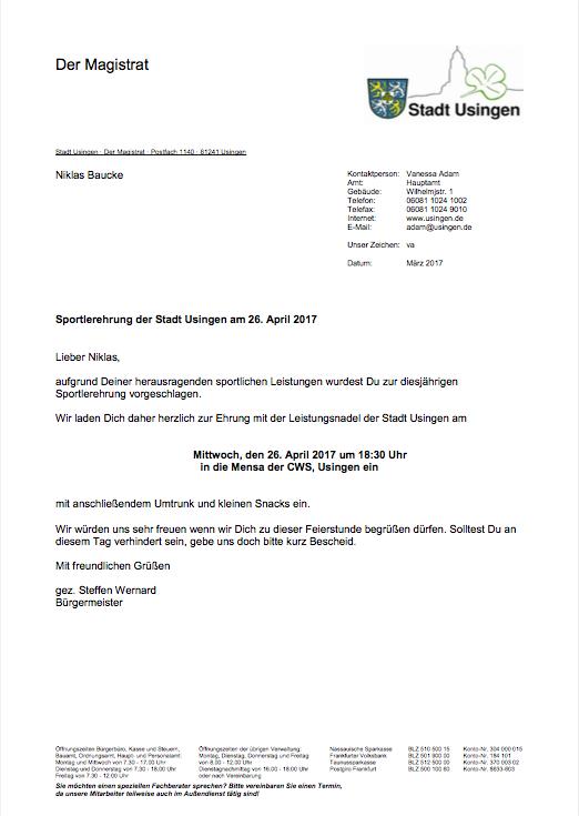 Niklas Baucke Ehrung 2017 durch die Stadt Usingen