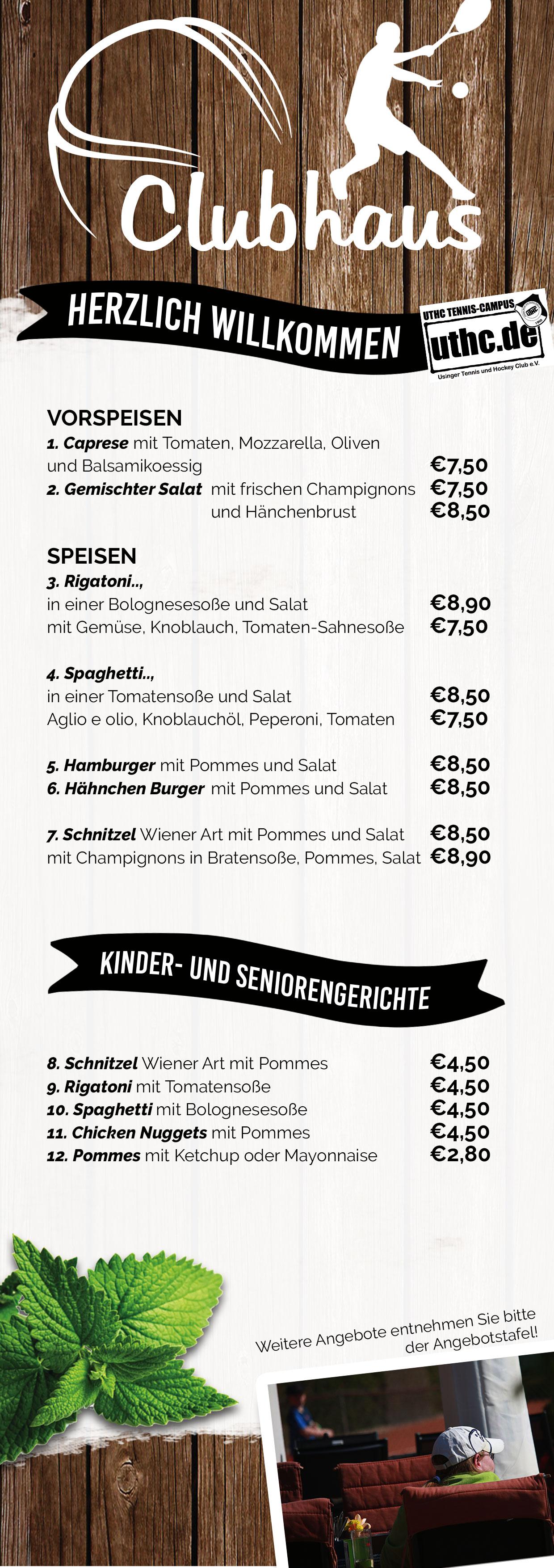 Sommer Speisekarte vom öffentlichen UTHC-Clubhaus