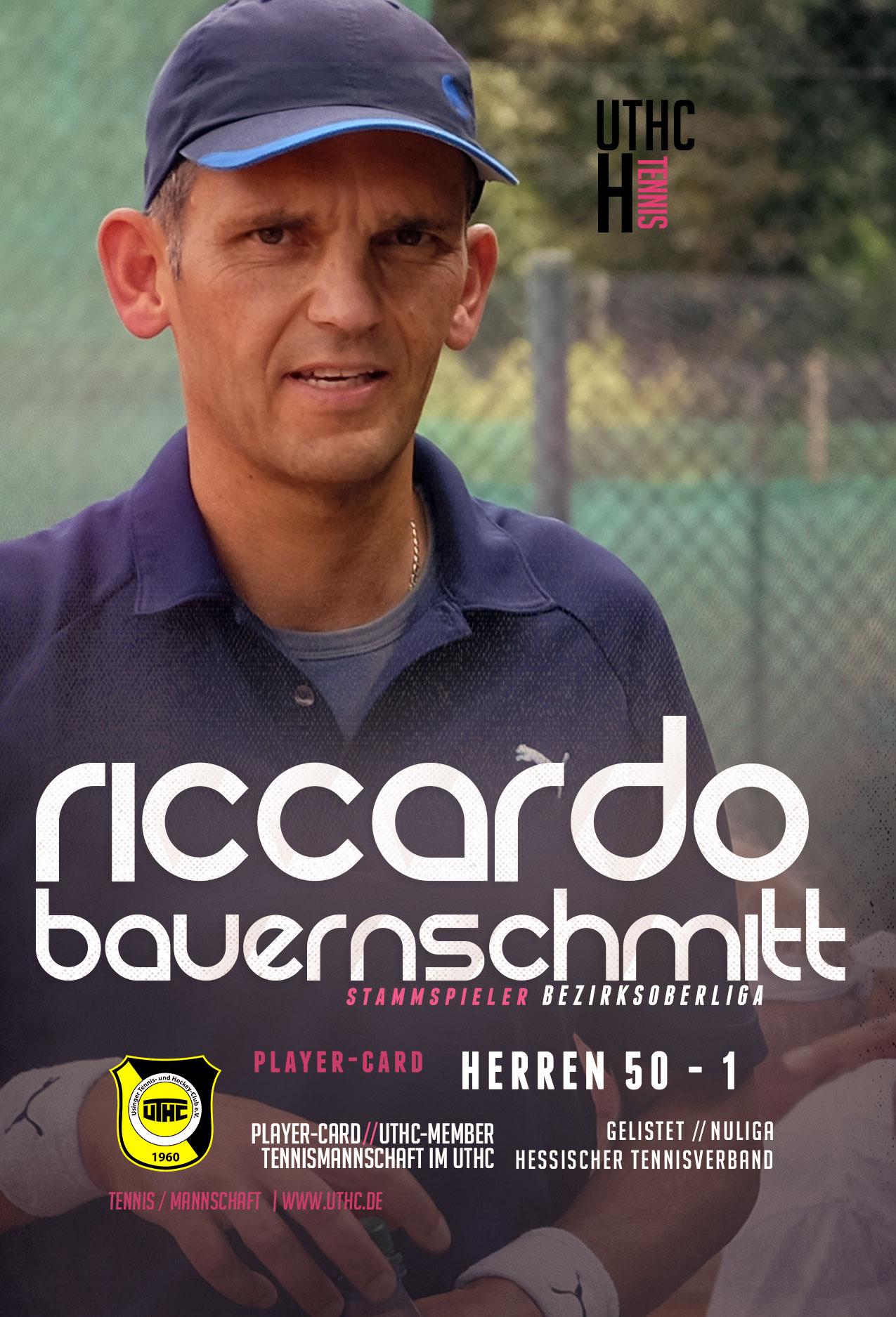 Tennis Spielerportrait 2017: Riccardo Bauernschmitt / Bezirksoberliga / Herren 50 / Erste Mannschaft / UTHC