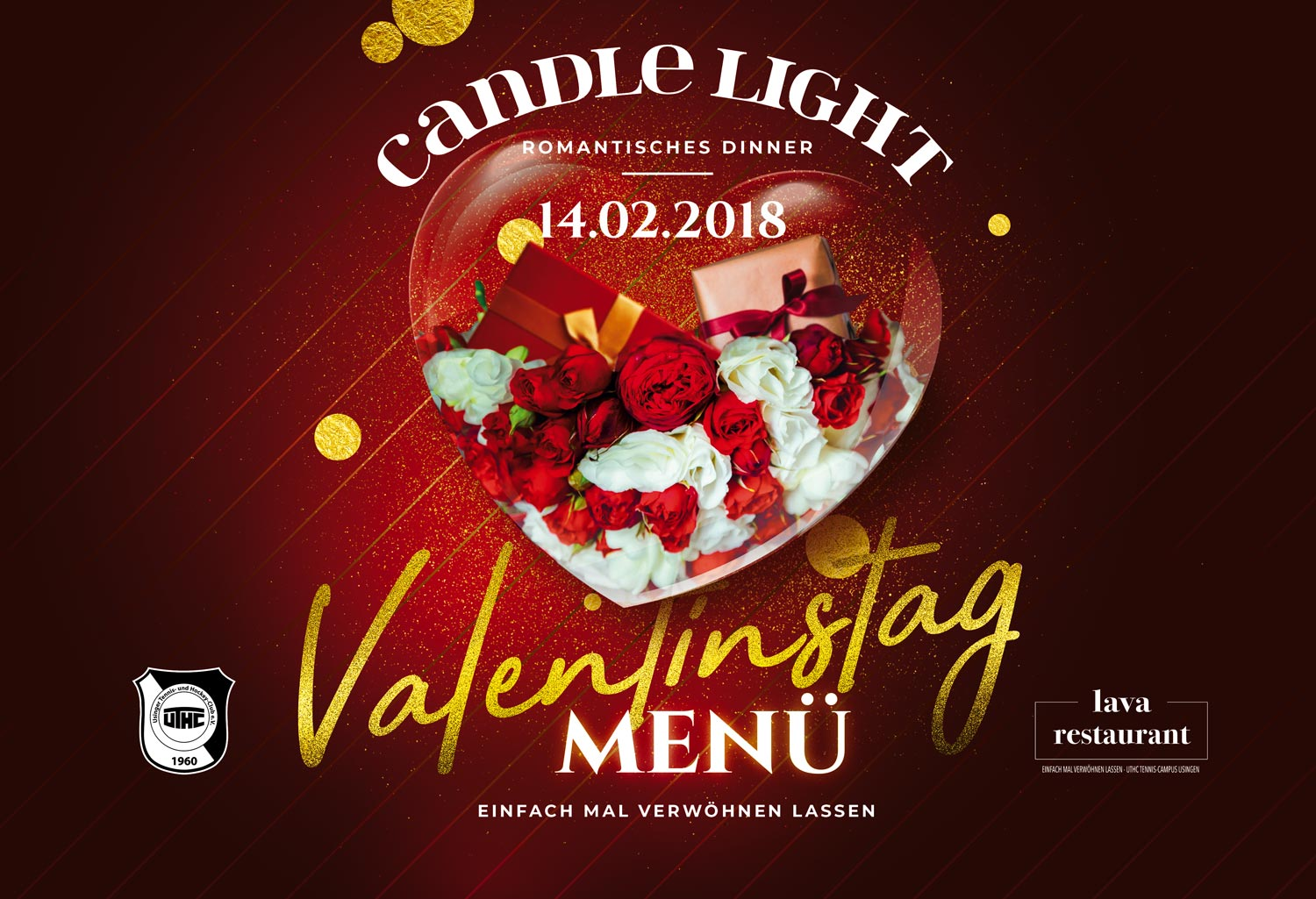 Lava-Restaurant-Usingen: UTHC Candle Light Dinner Usingen am Valentinstag 2018 Header 1500