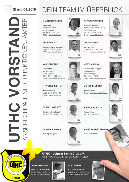 Der UTHC-Vorstand: Ansprechpartner-Verzeichnis 2017