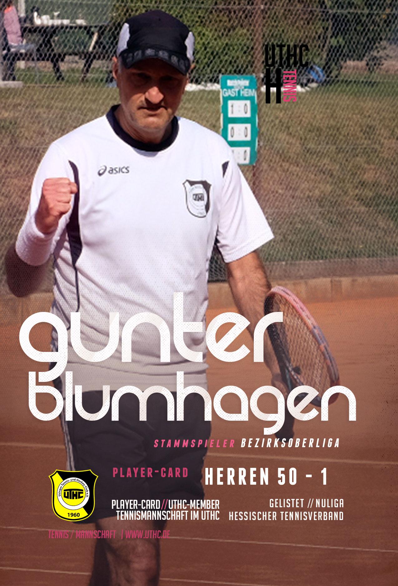 Tennis Spielerportrait 2017: Dirk Rabis / Bezirksoberliga / Herren 50 / Erste Mannschaft / UTHC