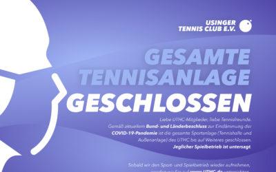 """Seit Mittwoch den 18.03.2020 ist der Sportbetrieb in unserer Tennishalle """"und auf der Außenanlage"""" geschlossen"""