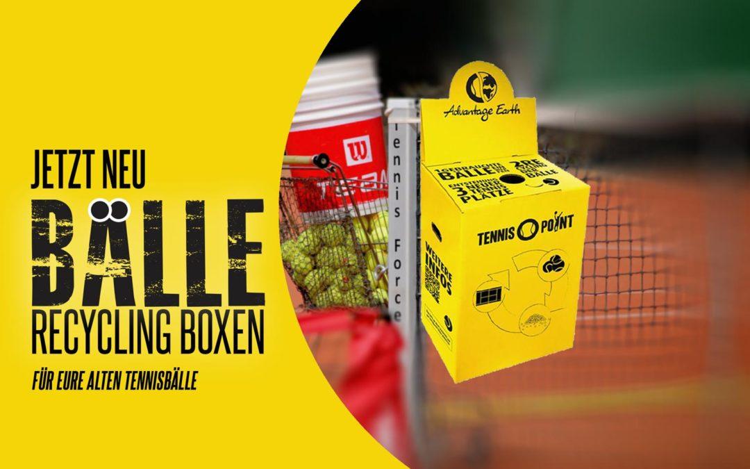 Neu: Recycling Boxen für alte Tennisbälle
